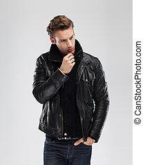 灰色, ファッション, 革のジャケット, 背景, モデル, 人