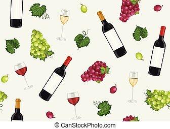 灰色, ブドウ, illustration., パターン, seamless, 背景, 赤, ベクトル, ブドウ, 束, びん, 白ワイン, 赤, ガラス