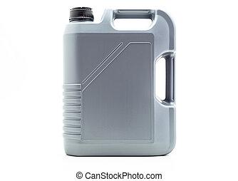 灰色, プラスチック, モーター油, 容器, ∥で∥, a, 容量, の, 5, liters., 隔離された, 上に, a, 白い背景, ∥で∥, a, 切り抜き, path.