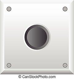 灰色, ボタン, ベクトル, イラスト