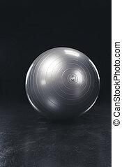 灰色, ボール, 黒い背景, フィットネス, 光沢がある