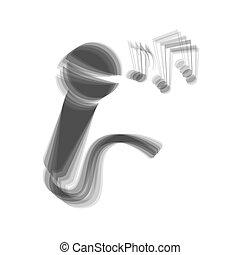 灰色, マイクロフォン, ノート。, 印, バックグラウンド。, 音楽, vector., shaked, 白, アイコン