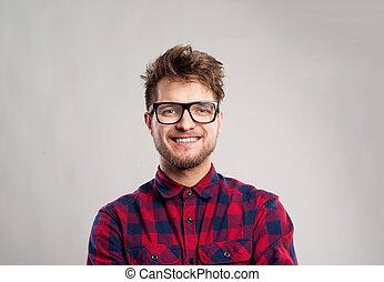 灰色, メガネ, 点検された ワイシャツ, に対して, バックグラウンド。, 人