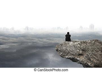 灰色, モデル, 空, 曇り, 背景, 都市の景観, 崖, 人