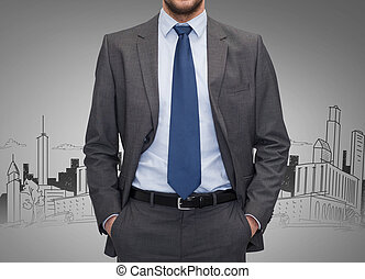 灰色, 上に, の上, 背景, ビジネスマン, 終わり