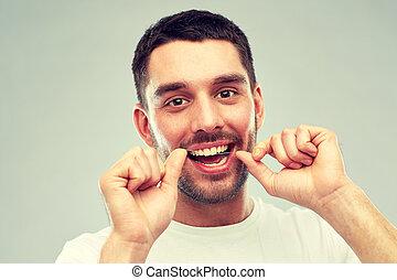 灰色, 上に, フロス, 歯をきれいにする, 歯医者の, 人