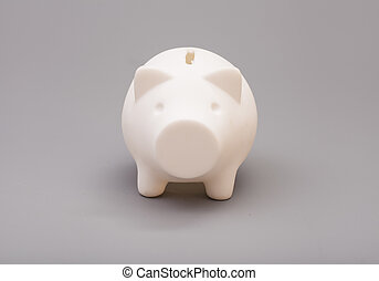 灰色, 上に, 銀行, 小豚, 背景