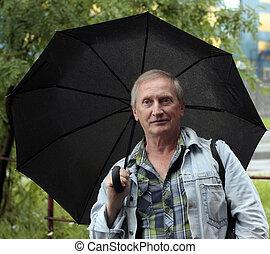 灰色, 傘, 毛, 黒, 下に, 深刻, 人