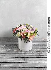 灰色, 優雅である, 花束, flowers., space., 贅沢, ばら, 色, 他, バックグラウンド。, コピー, 構成