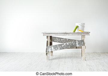 灰色, 公寓,  grunge, 牆, 概念, 水桶, 地板, 梯子, 裝飾, 畫,  interior:, 建設, 白色, 滾柱