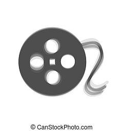 灰色, 印。, バックグラウンド。, shaked, vector., 白, アイコン, フィルム, 円