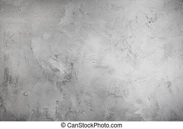 灰色, 古い, 壁, セメント, 創造的, ニュートラル, 背景, 色, 化粧しっくい