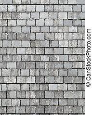 。, 灰色, 古い, 屋根, スレート, 終わり