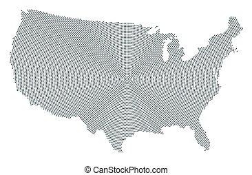 灰色, 合併した, 地図, パターン, 州, 放射状, アメリカ, 点