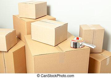 灰色, 壁, 箱, 背景, ボール紙, 日, moving.