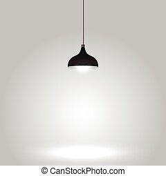 灰色, 天井, 黒, ランプ, 背景