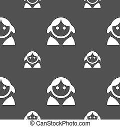 灰色, 女, 人間, パターン, 印。, seamless, バックグラウンド。, 女性, ベクトル, ユーザー, 女性, ログイン, トイレ, アイコン