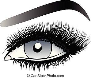 灰色, 女, 虚偽である, 激しく打つ, 長い間, 目, eyebrows.