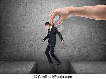 灰色, 床, 大きい, 上に, 手, 背景, ビジネスマン, ギャップ, 持って来ること