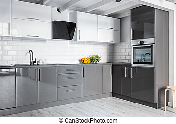 灰色, 廚房, 由于, 磚牆