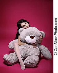 灰色, 感傷的である, -, おもちゃ, 抱擁, dreaminess., 女の子, 柔らかい, bruin