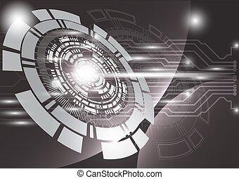 灰色, 技術, 背景, 抽象的, デジタル, 技術, 円