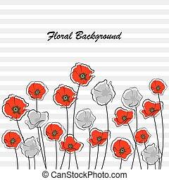 灰色, 抽象的, 花, 赤いポピー
