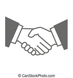 灰色, 握手, バックグラウンド。, ベクトル, 白, アイコン