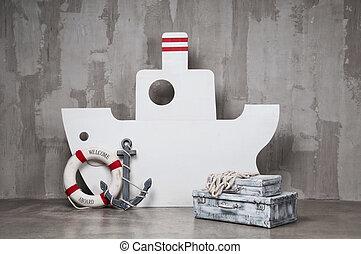 灰色, 木製である, 錨, 旅行, 背景, waiting., circle., ボート