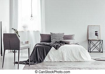 灰色, 椅子, 白, 寝室