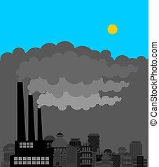 灰色, 植物, のまわり, pollution., 工場, 空気, 煙