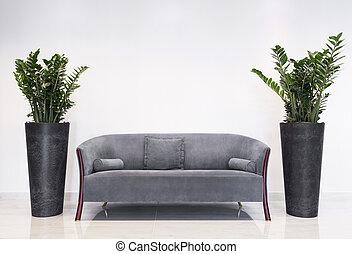灰色, 沙发, 在中, 现代, 内部