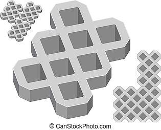 灰色, 混凝土, pavers