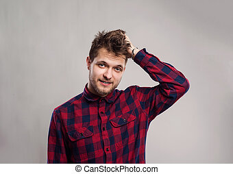灰色, 点検された ワイシャツ, に対して, バックグラウンド。, 微笑, 情報通, 人