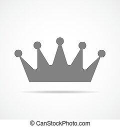 灰色, 王冠, icon., ベクトル, illustration.
