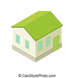 灰色, 现代, house., 描述, 矢量, 背景, 模型, 白色