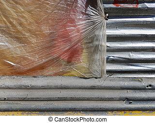 灰色, 珍しい, 左, バックグラウンド。, シート, スレート, teflon, 黄色のペイント, 型, カバーされた, 小片, 赤い点