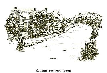 灰色, 略述, 背景, farmland., 村莊, 房子, 畫, 手