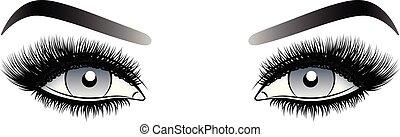 灰色, 目, 女, 虚偽である, 激しく打つ, 長い間, eyebrows.
