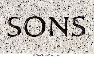 """灰色, 石, 単語, 刻まれた, 花こう岩, """"sons"""""""