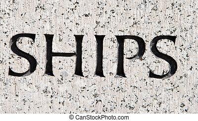 """灰色, 石, 単語, """"ships"""", 刻まれた, ボート, 花こう岩"""