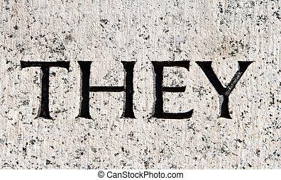 """灰色, 石, 単語, """"they"""", 刻まれた, 花こう岩"""