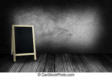 灰色, 石, 部屋, 壁, 黒板, 三脚, 内部
