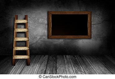 灰色, 石, 部屋, 壁, 黒板, 内部