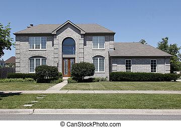 灰色, 磚, 家, 由于, 玻璃門