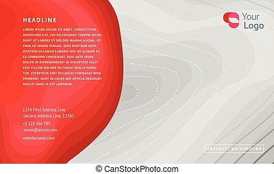灰色, 紅色, 背景。, 概念, ......的, 矢量, design., topographic 地圖, 外形, 背景。