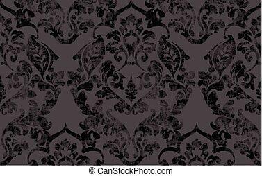 灰色, 葉, 型, decoration., 装飾, victorian, 手ざわり, 色, レトロ, vector., パターン, 花, グランジ, バロック式, 刻まれる, スクロール, design.