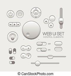 灰色, 要素, 網, ライト, ui, デザイン