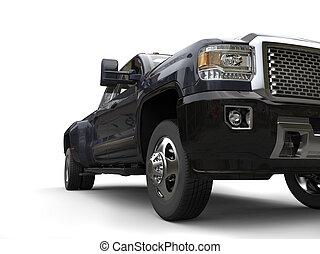 灰色, 角度, 前灯, -, 黑暗, 临时拼凑成的卡车, 低, closeup, 射击