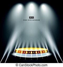 灰色, 金, 演壇, 照明, 背景, スタジオ, ステージ
